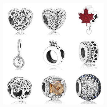 Free Shipping 1pc European Regal Heart Wing Maple Leaf Family Life Tree Ocean Bead Fit Pandora Charms Silver 925 Original P009