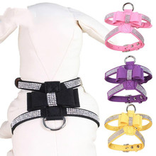 Bling Rhinestone Pet Puppy Dog Harness Vest Leather Leash for Small Cat Chihuahua No Pull Products