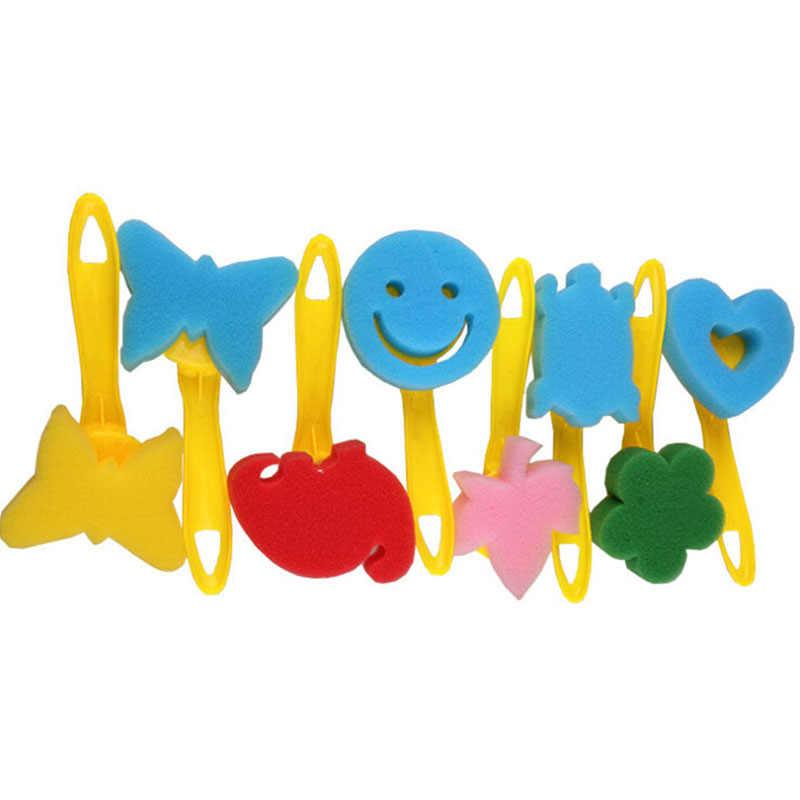 12 ชิ้น/เซ็ตน่ารักแปรงฟองน้ำเด็ก DIY วาดภาพวาด Graffiti เครื่องมือมือจับสีเหลืองน่ารักรูปร่างแสตมป์แปรง