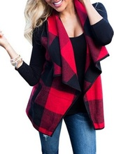 Autumn Office Ladies Vest Sleeveless Turn Down Neck Open Front Jacket Check Plaid Cardigan Casual Women Long Waistcoat zip front check plaid shorts