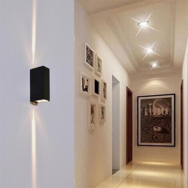 Led Outdoor Indoor Wall Sconce 6w Lamps Waterproof Modern Aswayled Light 2cob Chips Mounted Lamp