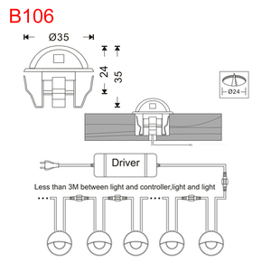 Image 2 - 30 Pcs שחור חצי ירח 35mm LED סיפון רכבת צעד מדרגות גדר מסד אורות נמוך מתח DC12V + 30 W שנאי