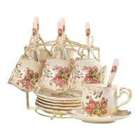 British Top grade Tea Cup Set Ivory Ceramic Coffee Cups Set Ceramic Advanced Porcelain Cup and Saucer with Stainless Spoon