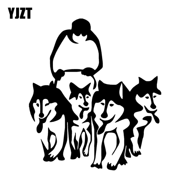 Yjzt 11 3cm13cm Husky Dog Huskies And Sled Sledge Vinyl Car Art
