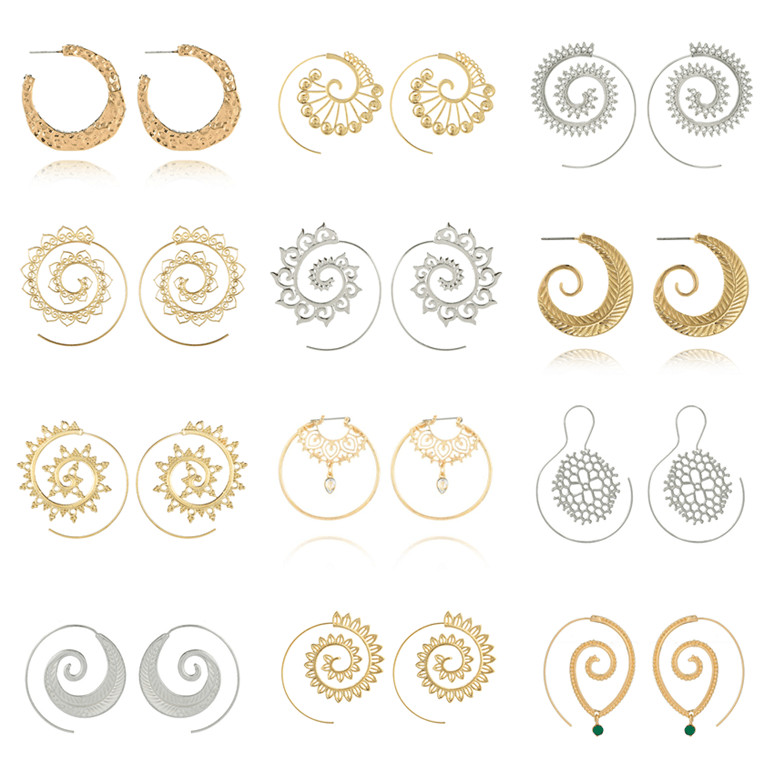 Tocona Vintage Gold Spiral Hollow Drop Earrings for Women Tribal Round Circle Dangle Earring Vintage Statement Jewelry