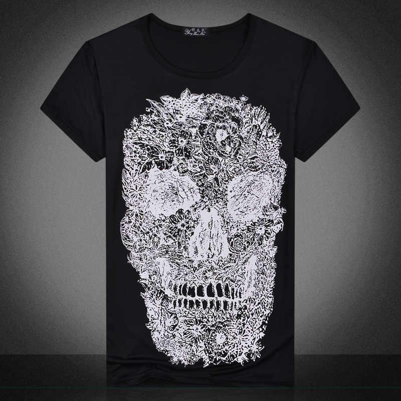 Повседневная мужская футболка, Приталенная футболка с 3D черепом, Мужская футболка, топы с коротким рукавом, Каратель, забавная футболка, быстросохнущая, для фитнеса, Размер 2XL