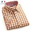 Langmeng Novo 2016 Moda Verão Camisa Dos Homens Slim Fit Homem Camisas de Manga curta Roupas Fino Casual xadrez camisas dos homens XXXL tamanho