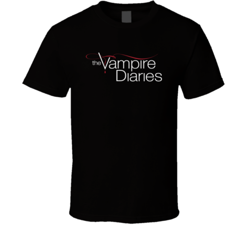 The Vampire Diaries TV movie cover black white men's tshirt free shipping Short Sleeve Fashion Summer Printing Casual