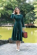 2016 Autumn Winter Women Vinatge Retro dress Elegant Embroidery Stand Collar Long Sleeve Midi Tunic Vestidos