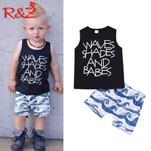 R&Z Children's Set 2019 Summer Europe and America Boys Sleeveless Letter T-Shirt Print Shorts Two-piece Cotton Casual Set letter and heart print sleeveless top and shorts pj set