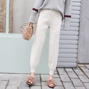 Image 3 - ミッドウエストニットハーレムパンツ女性ズボン巾着スキニーパンツポケットニットストライプスウェットパンツパンタロン 2019
