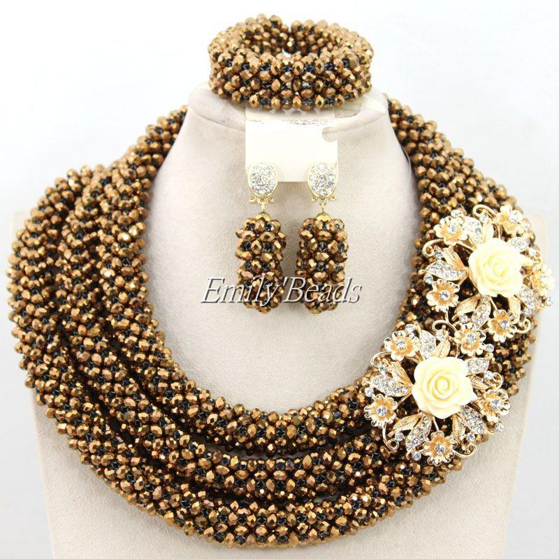 Fashionable Nigerian Wedding Beads Crystal Necklace Jewelry Set Costume African Jewelry Set Bridal Jewelry Free Shipping AMJ367