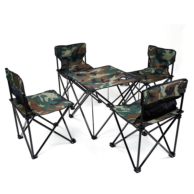Portable Outdoor Camping Picnic Fishing Foldable Folding Table and Chair Set Camouflage Fishing Chair 1 Table And 4 Chairs foldable fishing chair backpack camouflage oxford cloth metal tube portable fishing bag and chair fishing equipment