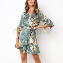 Cuerly Sexy ruffle short bow elegant party dress Summer beach casual daily dress Floral print spring mini dress vestidos L5