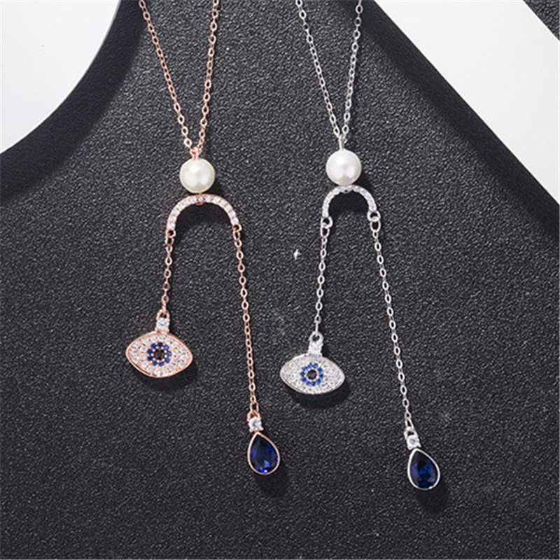 Fashion Sparking Evil eye AAA cubic zirconia sterling silver rose gold plated necklace for women ladies jewelry