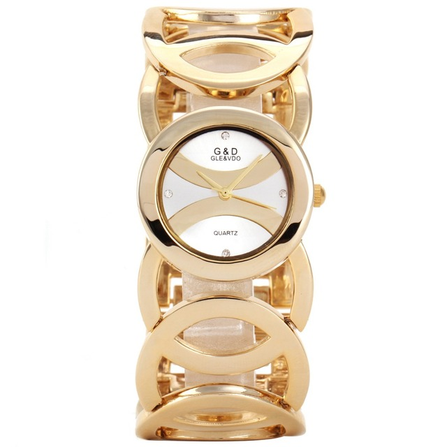 G&D Brand Women's Watches 2017 Gold Luxury Bracelet Watch Ladies Dress Watch Qua