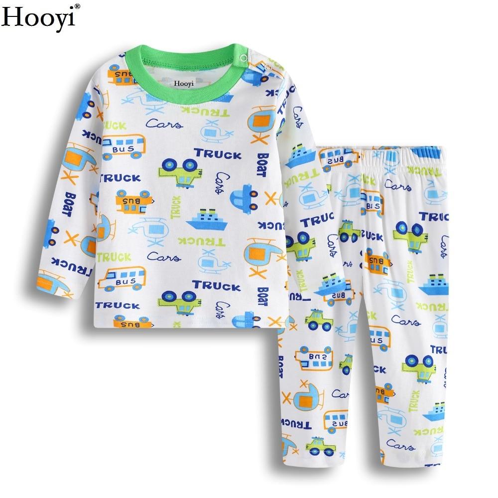 Doelbewust Hooyi Groen Vrachtwagens Baby Jongens Pyjama Kleding Set Kinderen Slaap Sets Baby Nachtkleding 100% Katoen Cartoon Bebe Kleding Nachtjapon