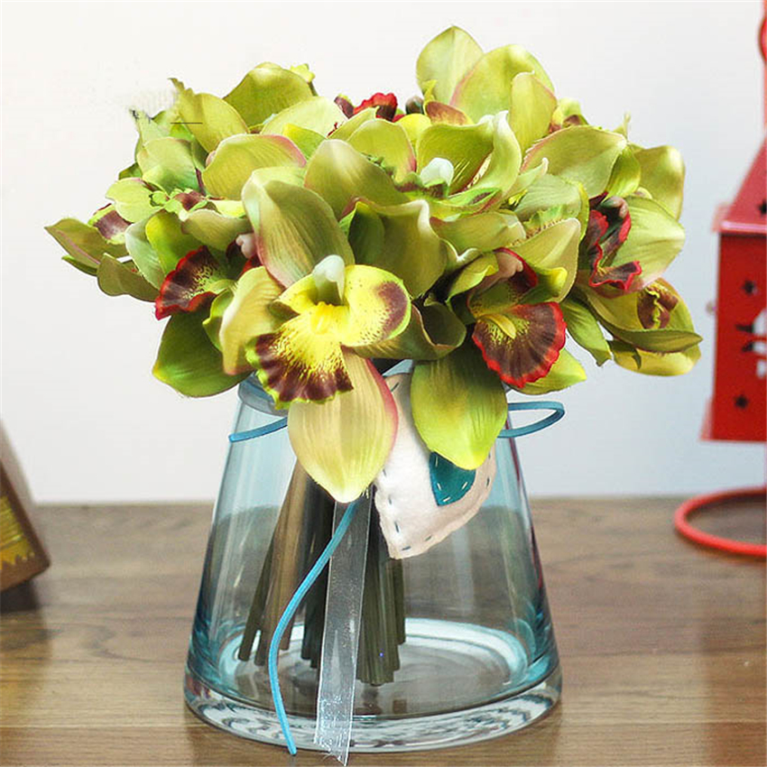 7 Flower Heads Pcs Multicolor Artificial Orchid Decoration
