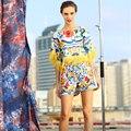Lujo Mujeres Cloark Conjuntos 2016 Nueva Verano Impresión de La Manera de La Manga de alta Calidad de La Borla de La Novedad Tops + Delgado Bolsillos Cortos Pantalones traje