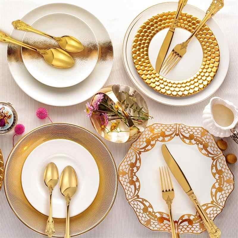 16 Chiếc Vàng Sang Trọng Bộ 3 Thìa Ăn Uống Mạ Vàng Cưới Dao Kéo Thép Không Gỉ Set Ăn Tối Retro Bộ Đồ Ăn Cho Tiệc Quà Tặng
