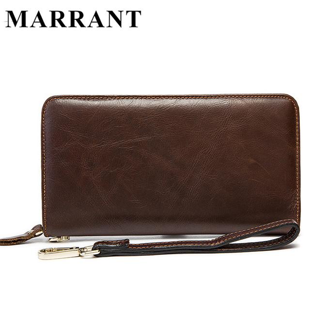 Marrant genuínos homens de couro carteiras masculino bolsa saco de embreagem dia dos homens carteiras bolsa carteiras longas bolsa de couro titular do cartão de telefone