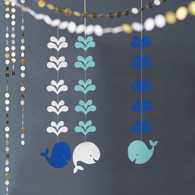 3 Pcs/set Cute Glitter Pink Blue Whale splash Hanging Garlands String Chain Banner baby birthday wedding party Decor