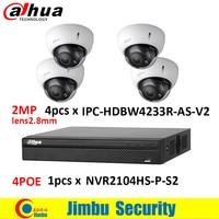 Dahua NVR kit de sistema de $ number CANALES grabador de vídeo 1 unidades NVR2104HS-P-S2 con 4POE puerto y Dahua 2MP cámara IP de 4 unidades IPC-HDBW4233R-AS