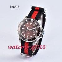New 40mm Parnis brown dial ceramic bezel luminous marks sapphire glass date adjust miyota Automatic business Men's Watch