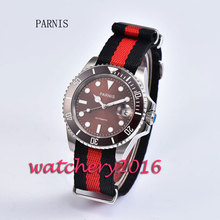 New 40mm Parnis brown dial ceramic bezel luminous marks sapphire glass date adjust miyota Automatic business Men's Watch