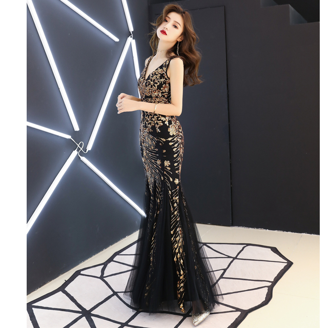 Black Wedding Banquet Sparkly Long Dress Bar Nightclub DJ DS Women Singer  Costume Birthday Celebrate Outfit Female Dance Clothes c221ec51cf67