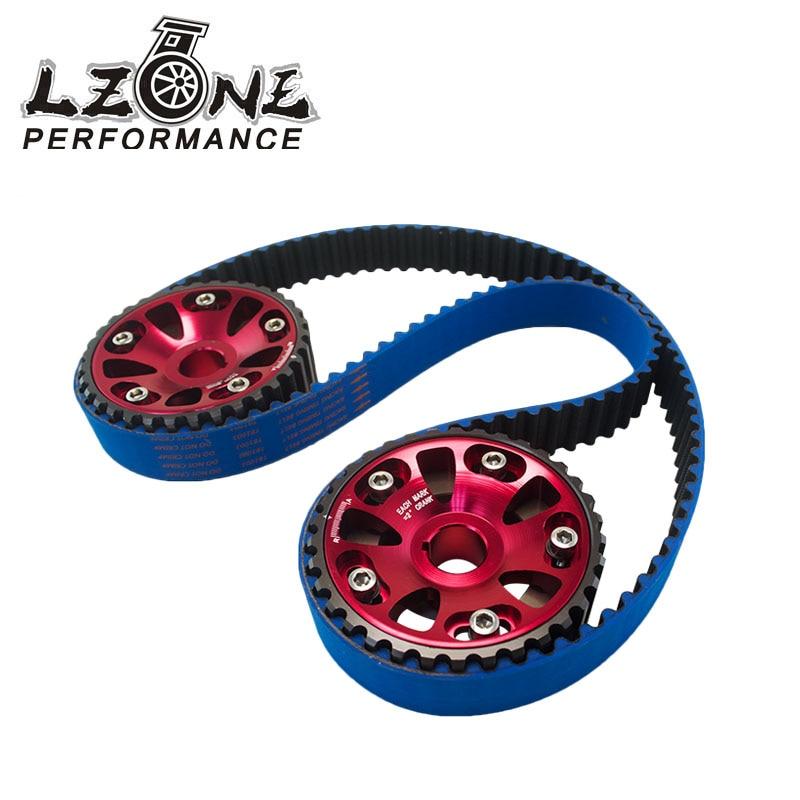 LZONE RACING - HNBR Racing Timing Belt Blue+ Aluminum Cam Gear Red FOR B18C Integra GSR / Type-R JR-TB1003B+6532R vr racing hnbr racing timing belt