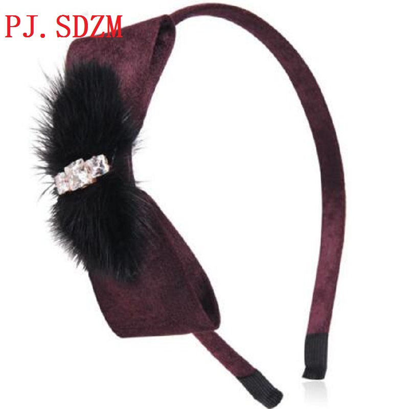 Mink Fur Hairbands Europe Star Show Luxury Rhinestone Hair bands Fashion Crystal Faux Fur Hair Accessory Gift Girl 4Color FG0142