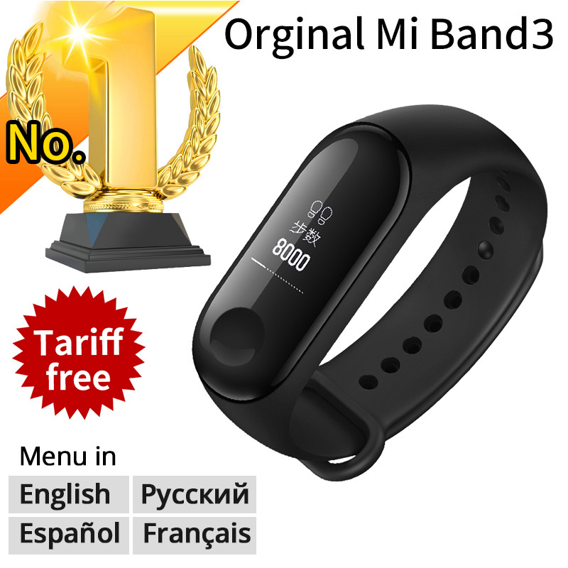 New Original Xiaomi Mi Band 3 Smart Bracelet Black 0.78 inch OLED Miband 3 Wristband Band3 Instant Message Call Fitness Tracker(China)