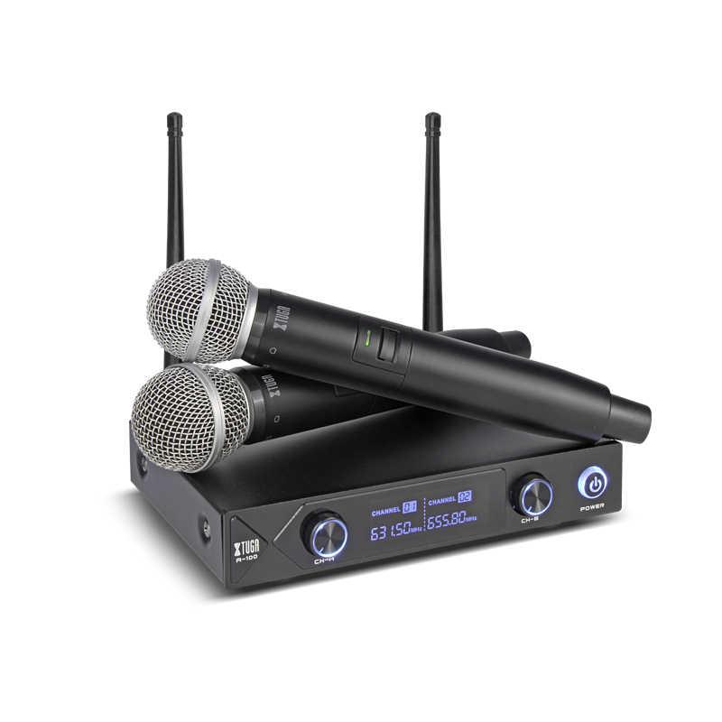 XTUGA オーディオシャオ Mi 電話プロ UHF A-100 2 チャンネルコードレスワイヤレスマイクシステム Uhf ワイヤレスカラオケパーティーバー品質