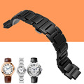 AOTU 14mm 18mm Ceramic Watchband Watch Strap Wristband for Cartier Blue Balloon Lady Woman Man Black White Stainless Clasp +TOOL