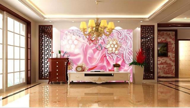 custom 3D wallpaper Silk Pearl Flower TV Wall wallpaper living room ...