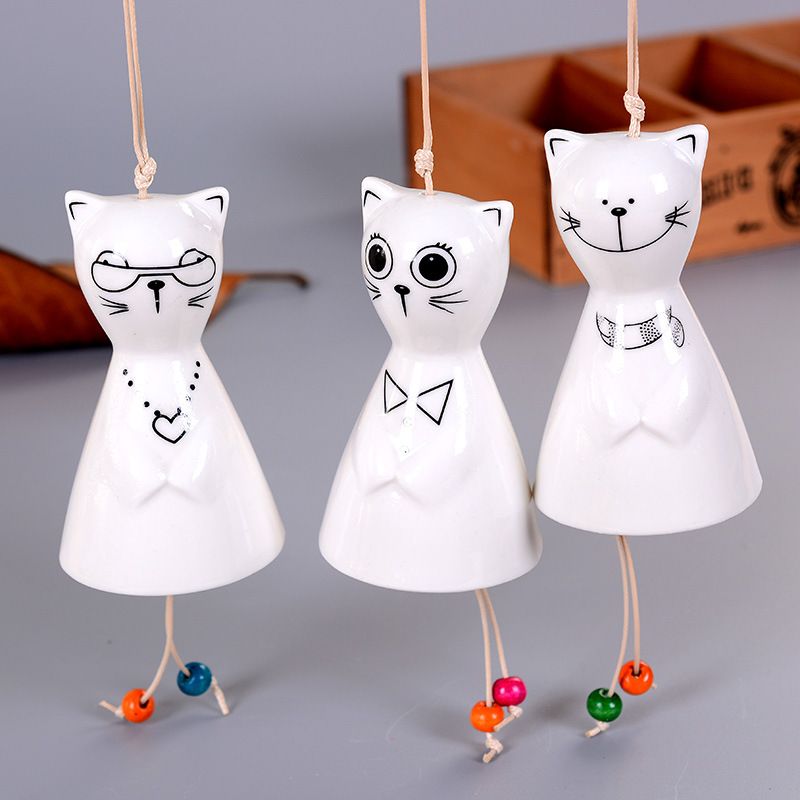 >Big street cat ceramic wind chimes new <font><b>Japanese</b></font> car ornaments <font><b>house</b></font> decoration ornaments girls love bedroom balcony pendant