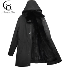 Detachable 100% mink liner overcomes imported long cap with real fur coat two wear high quality mens