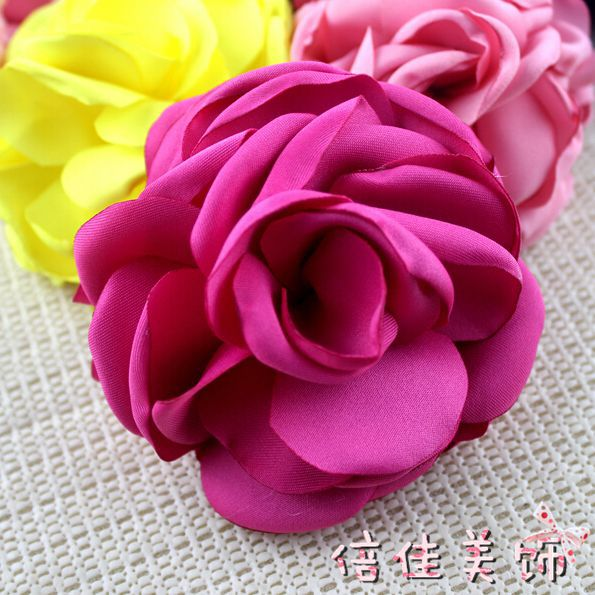 50pcs 3.5 Burned Satin Flowers,Kids Handmade Singed Flowers For ladies Wedding Dress/Hair Accessories