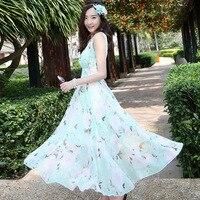 New Boho Style Women Long Dress Beach Floral Print Summer Dress Chiffon V Neck Maxi White