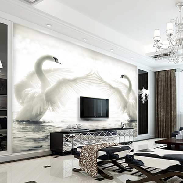 Buy 3d photo wallpaper romantic swan for 3d photo wallpaper for living room