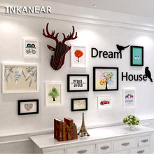 INKANEAR Vintage Wooden Painting Photo Frame Set with Letter Birds Deer Fashion Home Decor Wood Wall Decoration Black White(China)