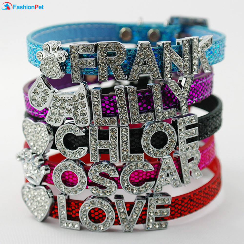Hot Sale Pet Personalized Collar 10MM Bling Leather Free Name Customized Cat Dog Puppy Pet Name Collar hot sale short plush chew squeaky pet dog toy