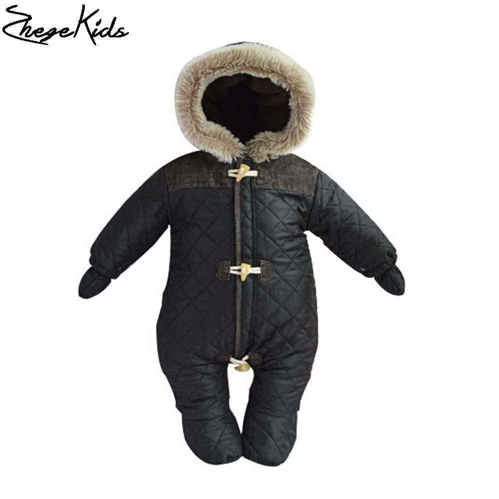 100% Postive Feedback Baby Boy Winter Jumpsuit Kids Bebes Costume Toddler Clothing For Newborns Thicken Warm Hooded Rompers
