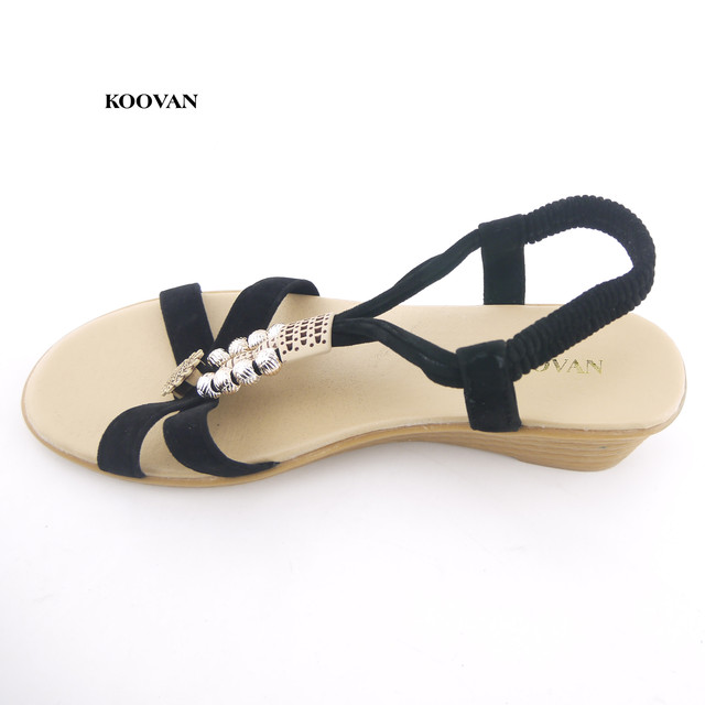 b81dc16a0e968 Koovan Women 2018 New Summer Thick Crust Slope Wedges Beaded Sandals Female  Summer Flat Heel Women Shoes Waterproof Sandals