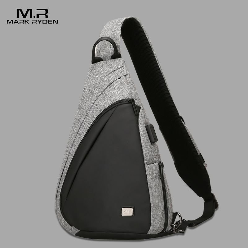 USB Recharging Chest Sling Bag - Multi-functional Shoulder Bag