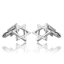 Star of David With Cufflink French Shirt Laser Engraving Men Jewelry Unique Wedding Groom Cuff Links Business Cufflinks For Men  novelty cuff links stainless steel old craftsman hand laser engraving cufflinks mans french suit accessories jewellery