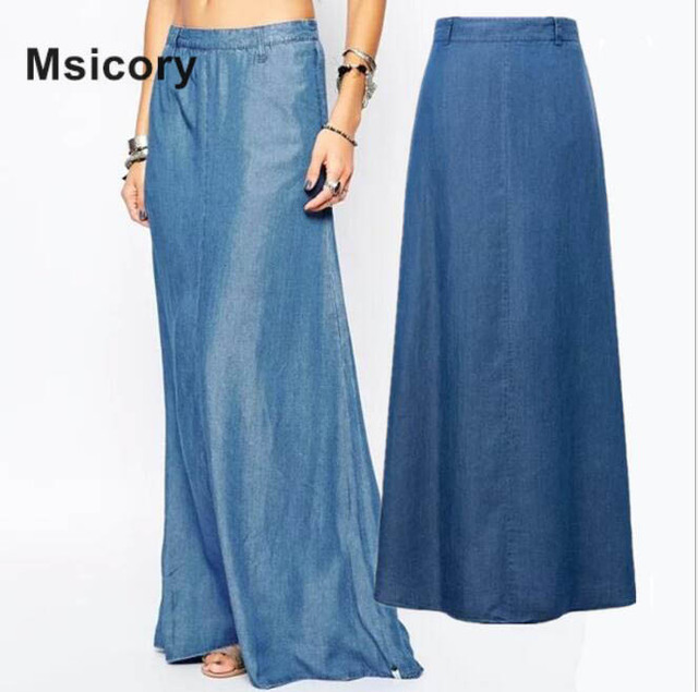 66c5ea61a9 2017 New Casual Loose Blue Denim Maxi Skirt Top Selling High Quality Soft Jean  Skirt For Women Plus Size Vintage Long Skirt