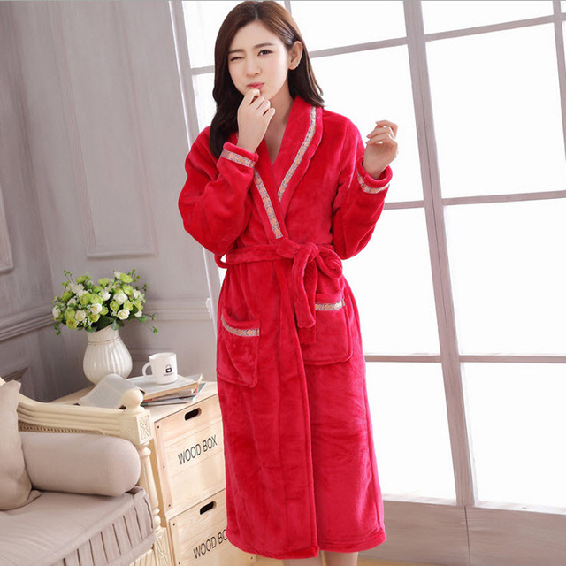 befd5b49b8 Today Special Women s Solid Color Pajamas Full Sleeve Knitted Polyester  Sleep Lounge Robes Vestaglia Sposa Robe Sexy