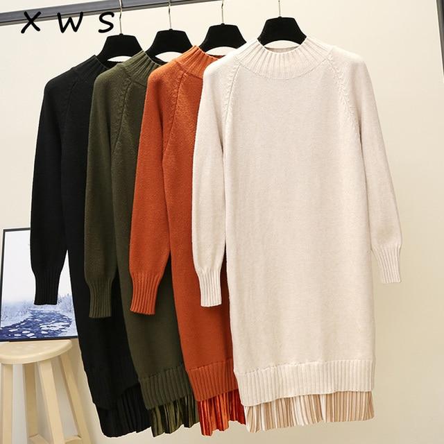 2018 slim female autumn winter midi sweater dress women sexy bodycon dress long sleeve robe solid Basic knitted dress balck